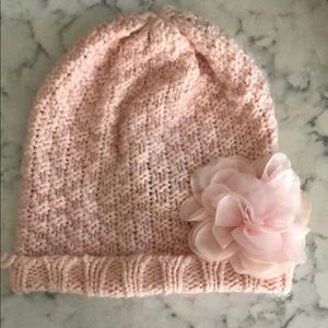 GAP Girls Pale Pink Knit Beanie with Flower Accent